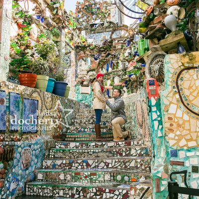 surprise proposal at Philadelphia Magic Gardens in winter