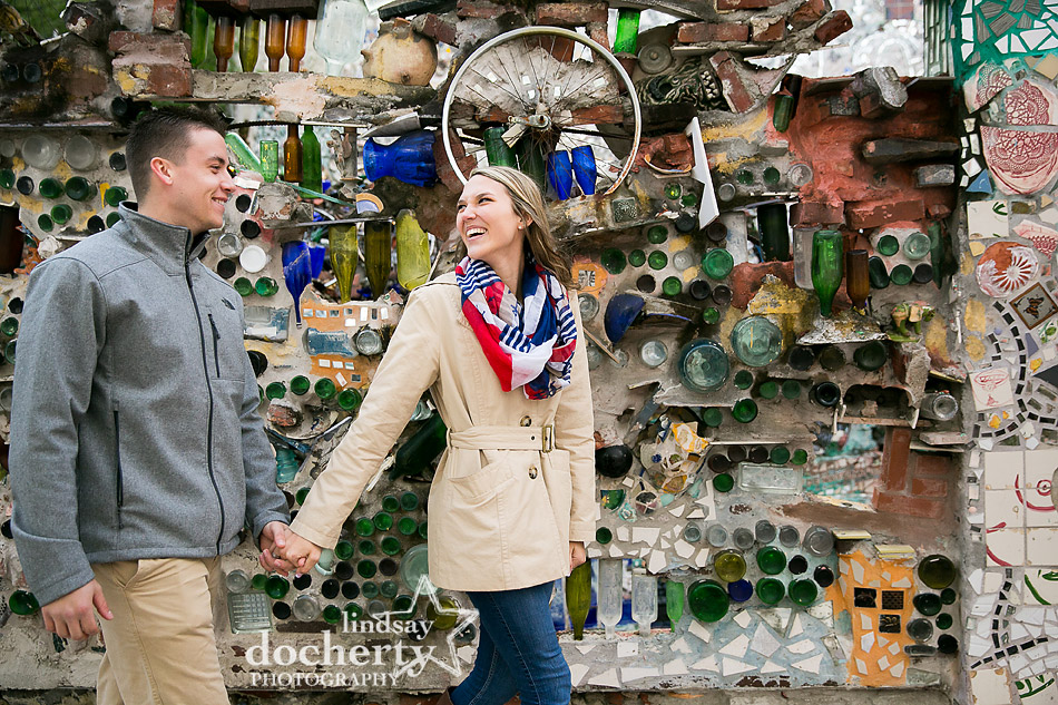 winter engagement session inside Philadelphia Magic Gardens