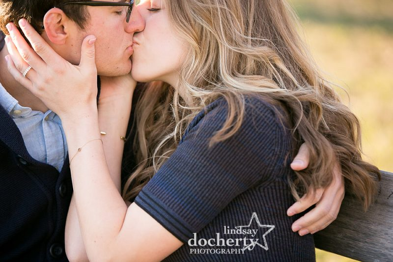 closeup engagement picture of couple along Boathouse Row