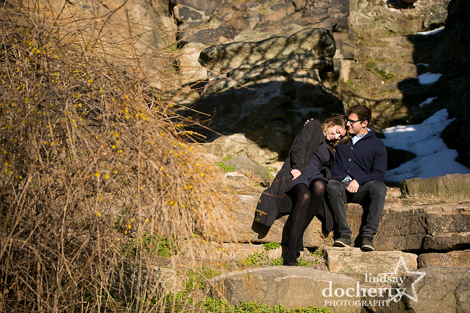 couple engagement picture behind Philadelphia Art Museum on early spring day