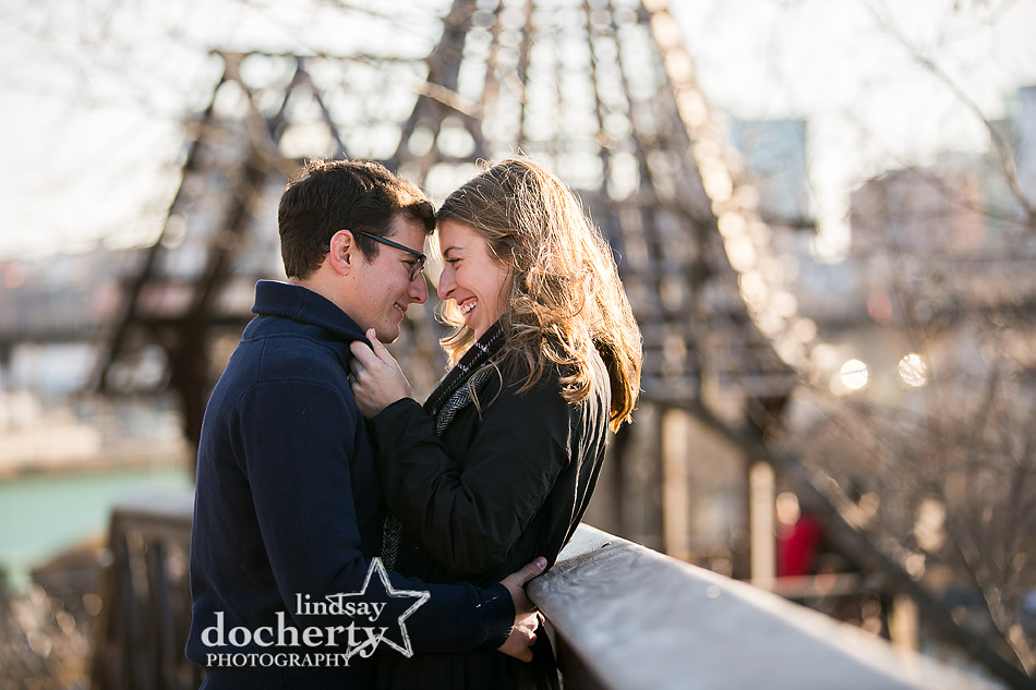 happy couple engagement pictures by Art Museum gazebos after proposal