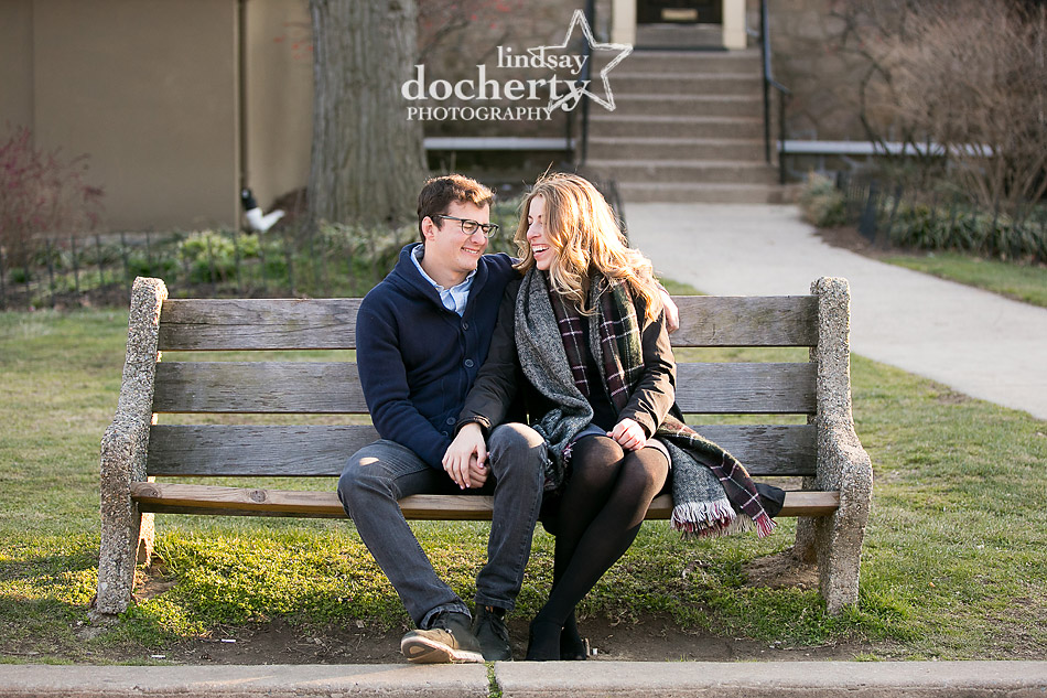 laughing couple engagement pictures at Boathouse Row