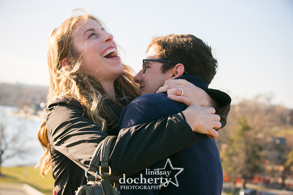 pure happiness at surprise proposal at Philadelphia Art Museum