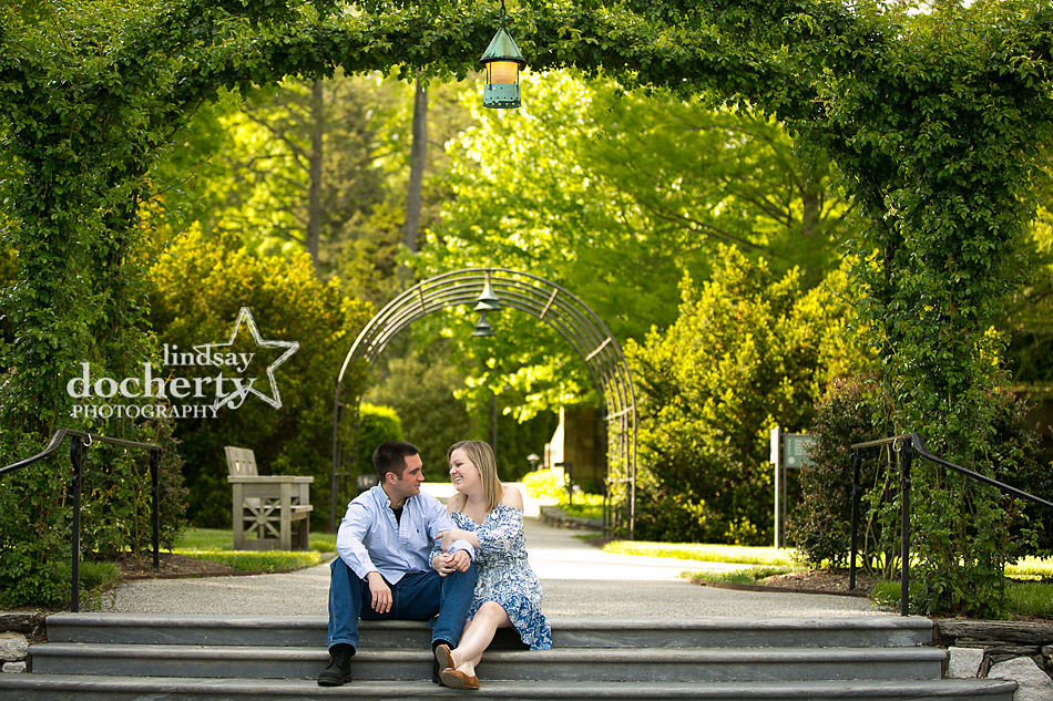 Spring Longwood Gardens engagement session outside