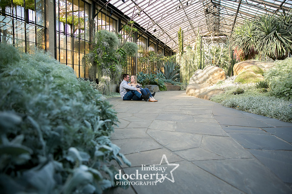 engagement session at Longwood Gardens succulent room