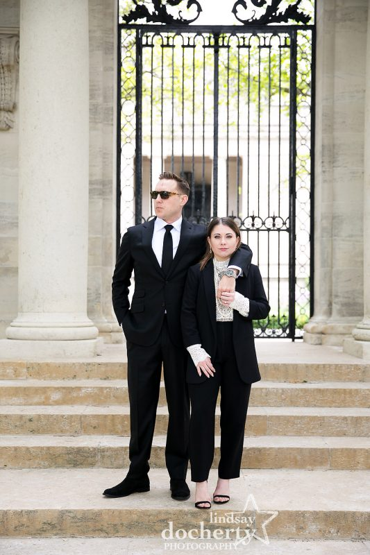 Power couple in black at Rodin Museum for engagement session