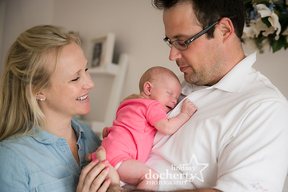 family photo session of newborn baby girl in New Jersey