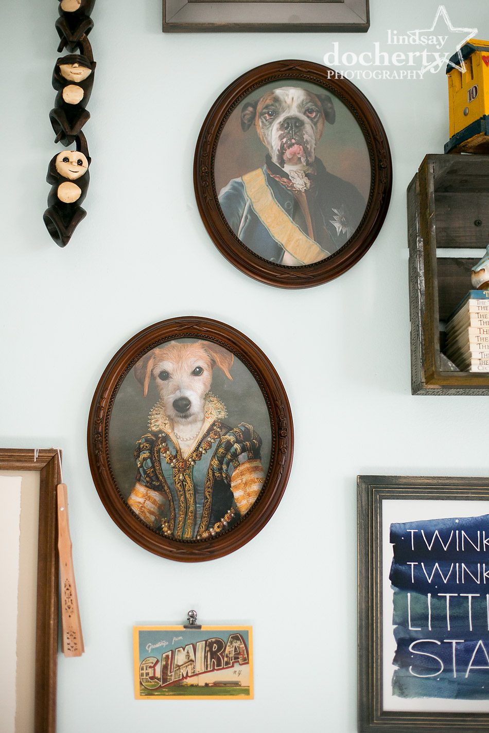 Elizabethan dog paintings on wall