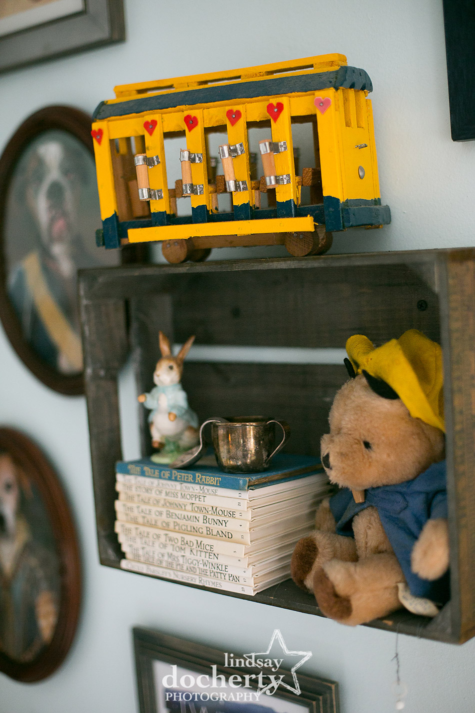 Paddington Bear Beatrix Potter and yellow trolley in nursery
