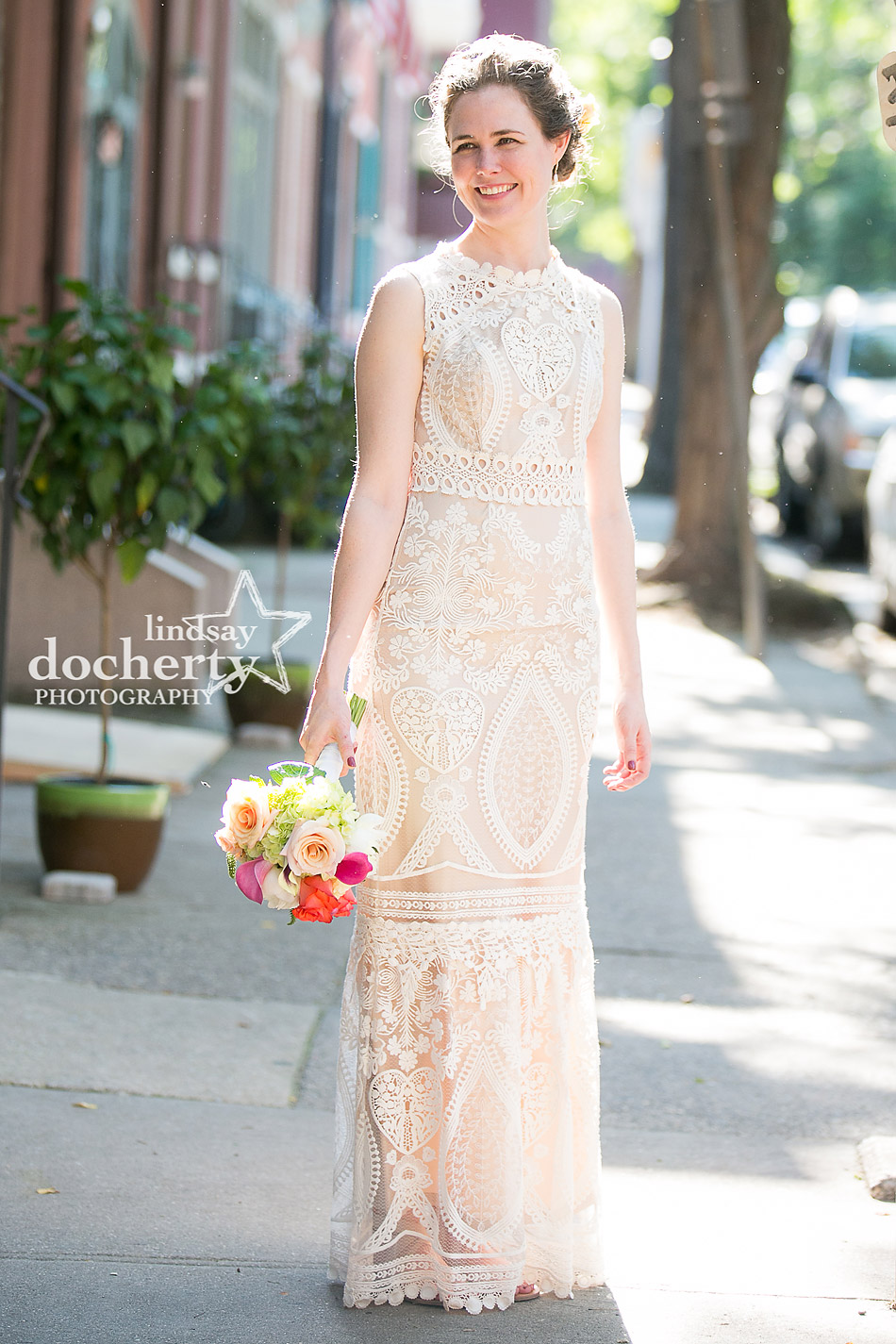 beautiful bride with boho BHLDN wedding dress