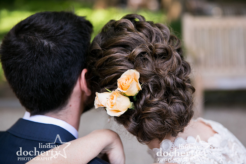 beautiful curly updo for bride on wedding day