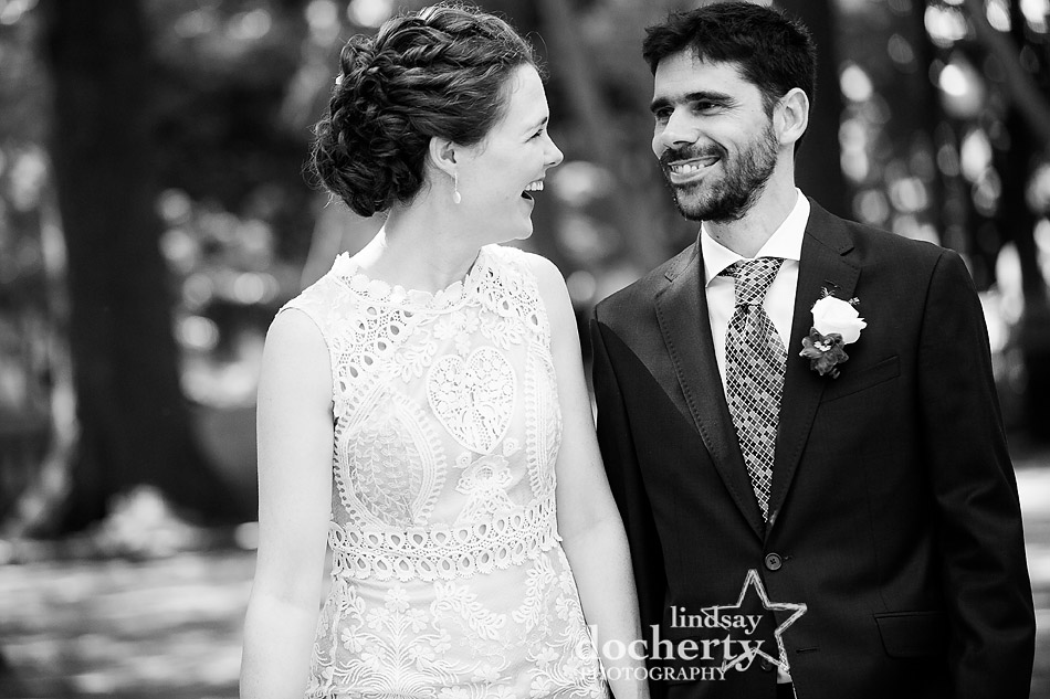 black and white portrait of bride and groom on wedding day