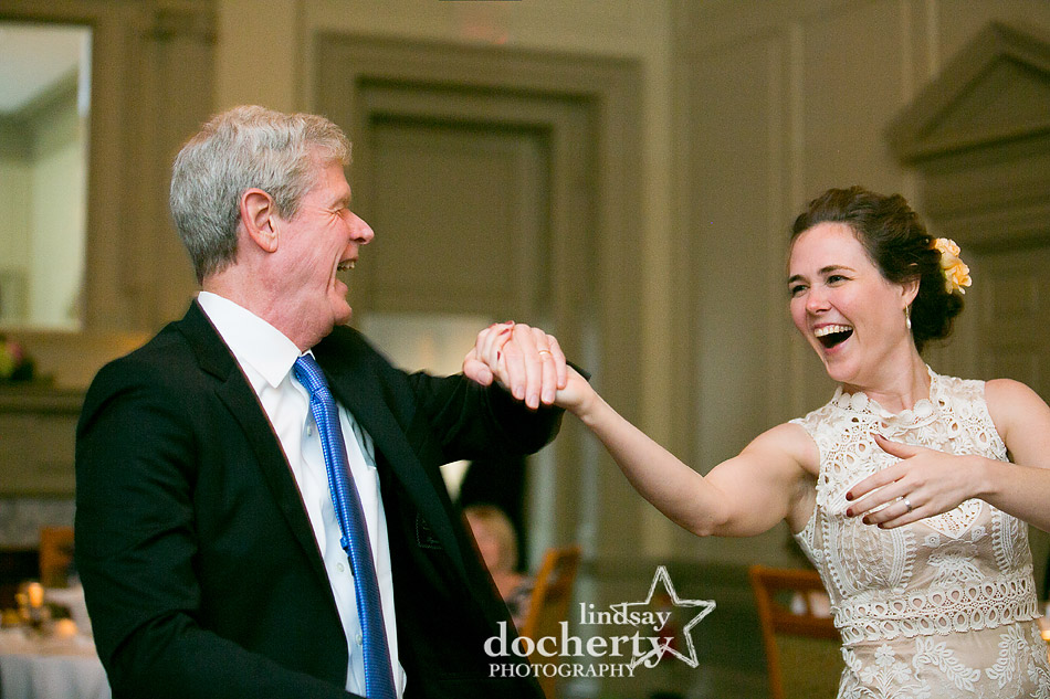 bride and father dancing on wedding day at Davios steakhouse