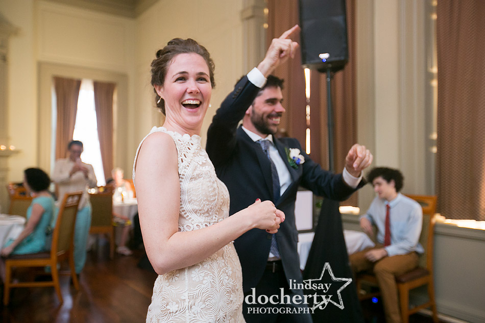 couple dancing into the reception at Davios steakhouse