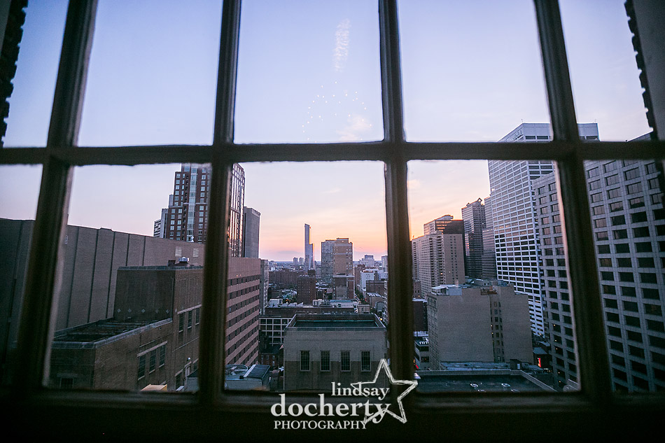 gorgeous Philadelphia sunset night sky from windows of Davios steakhouse