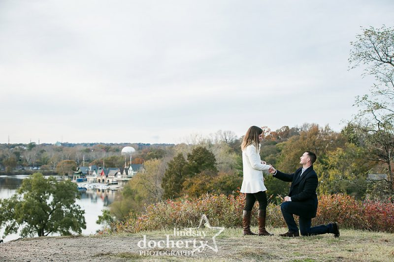 cold fall wedding proposal at Art Museum in Philadelphia