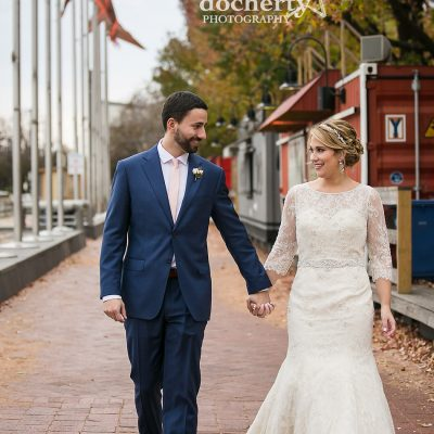 bride and groom picture at Spruce Street Harbor Park for November wedding in Philadelphia