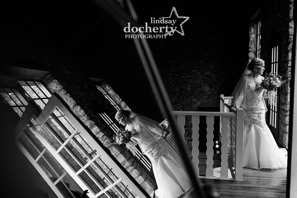 beautiful bride reflection at Holly Hedge Estate