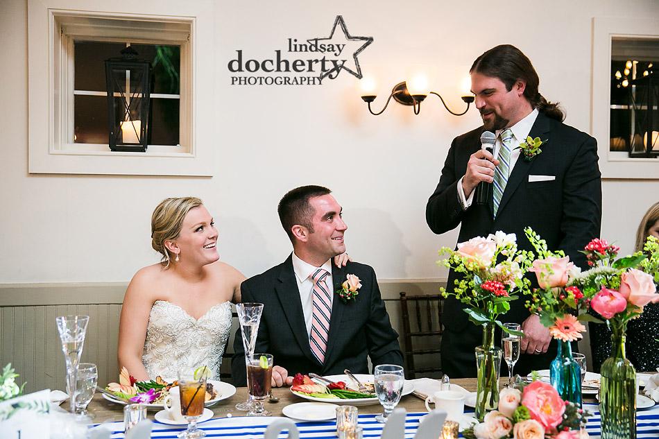 best mans speech at wedding reception at Holly Hedge Estate