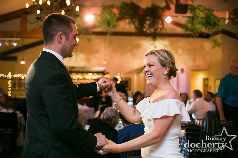 bride and groom dancing at a wedding reception at Holly Hedge Estate