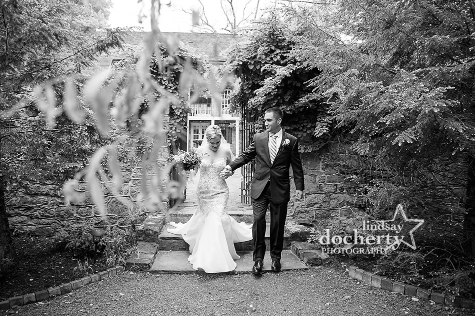 bride and groom recessional after outdoor ceremony at Holly Hedge Estate