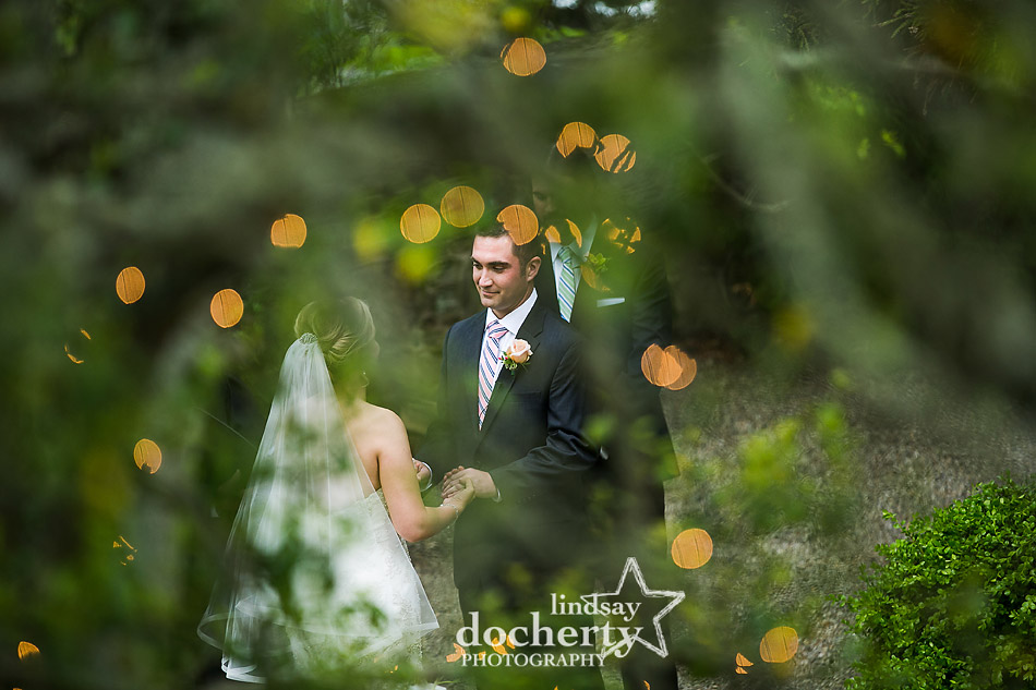 bride and groom vows outside at Holly Hedge outdoor ceremony
