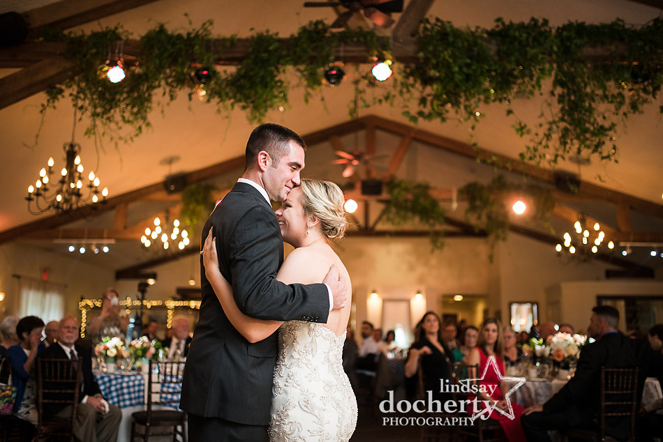 first dance at reception at Holly Hedge Estate