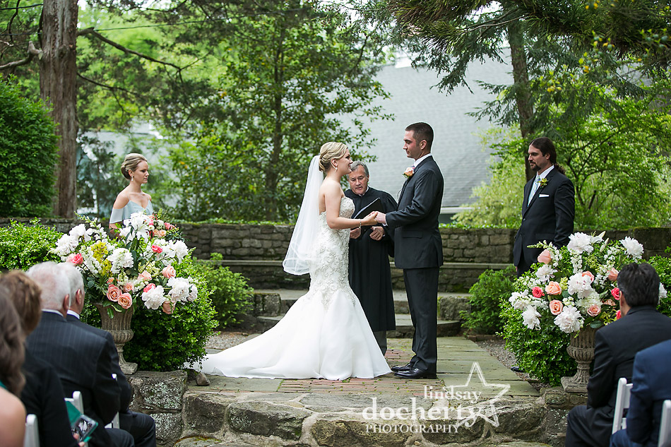 foggy wedding day at outdoor ceremony at Holly Hedge Estate