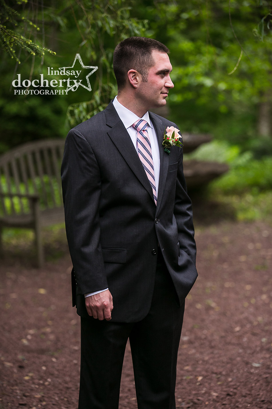 handsome groom on wedding day at Holly Hedge Estate