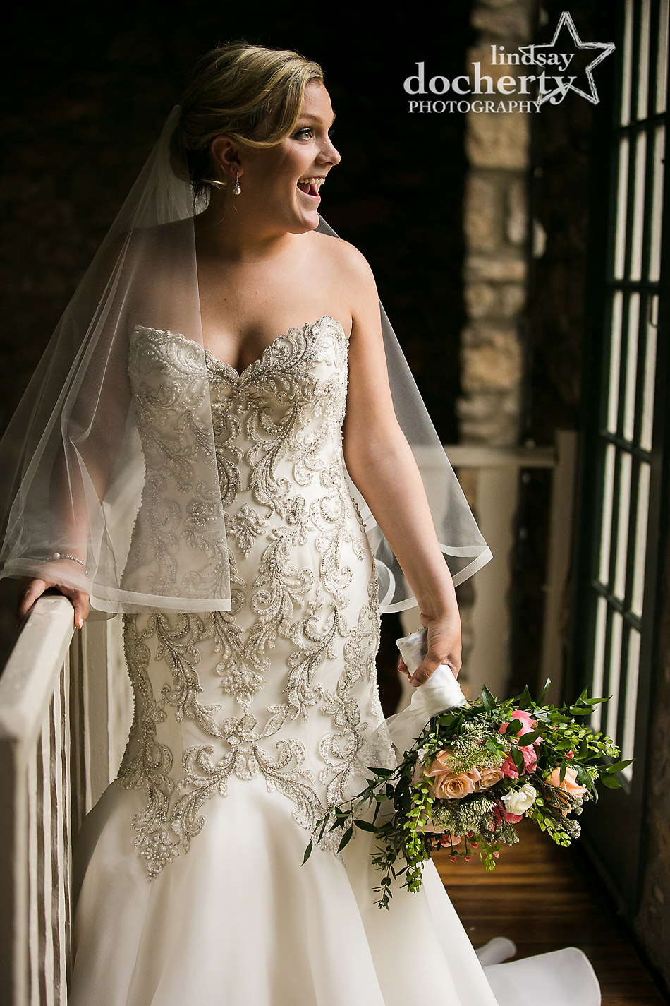 happy bride portrait at Holly Hedge Estate wedding day