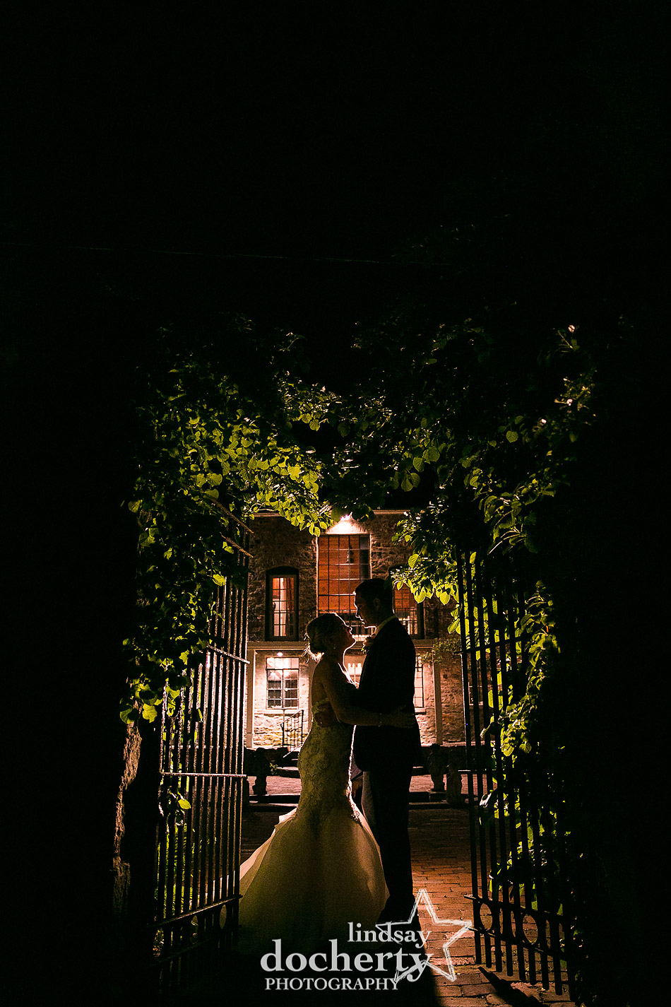 late night image of bride and groom at Holly Hedge Estate