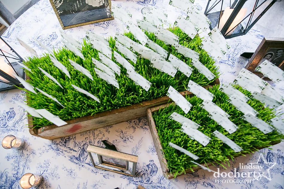 placecards in fresh green grass at Holly Hedge Estate wedding reception