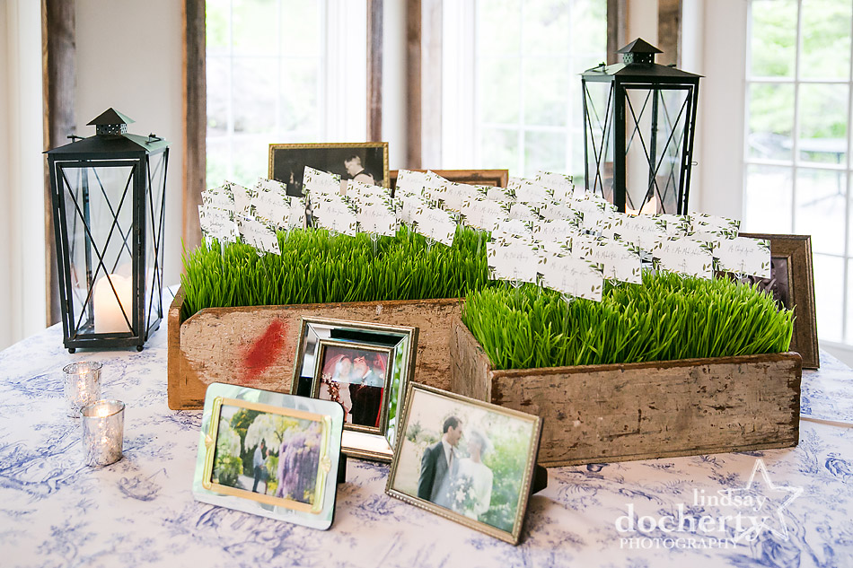 placecards in grass display on blue toile tablecloth table with family pictures