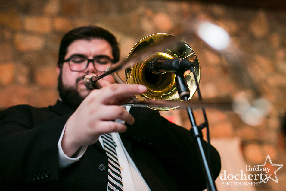 trombone player at EBE wedding band at Holly Hedge Estate reception