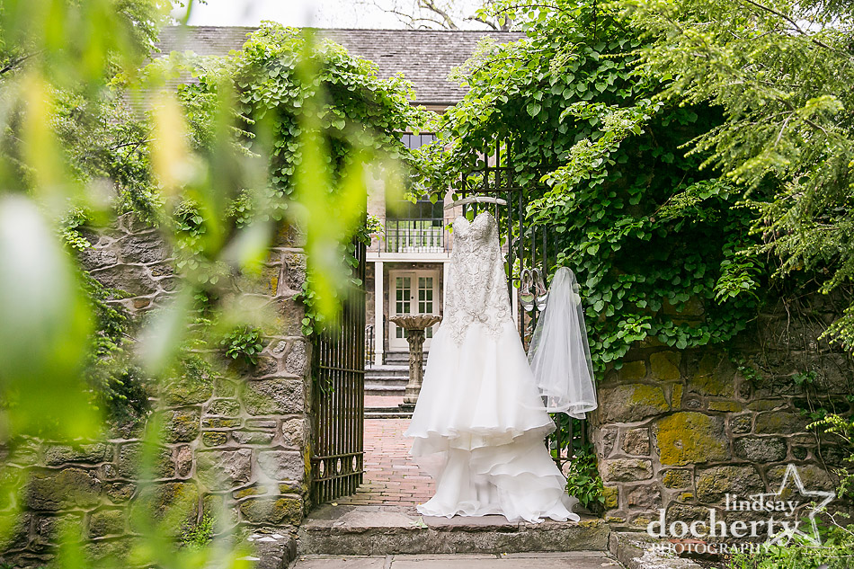 Maggie Sottero wedding dress hanging at Holly Hedge Estate