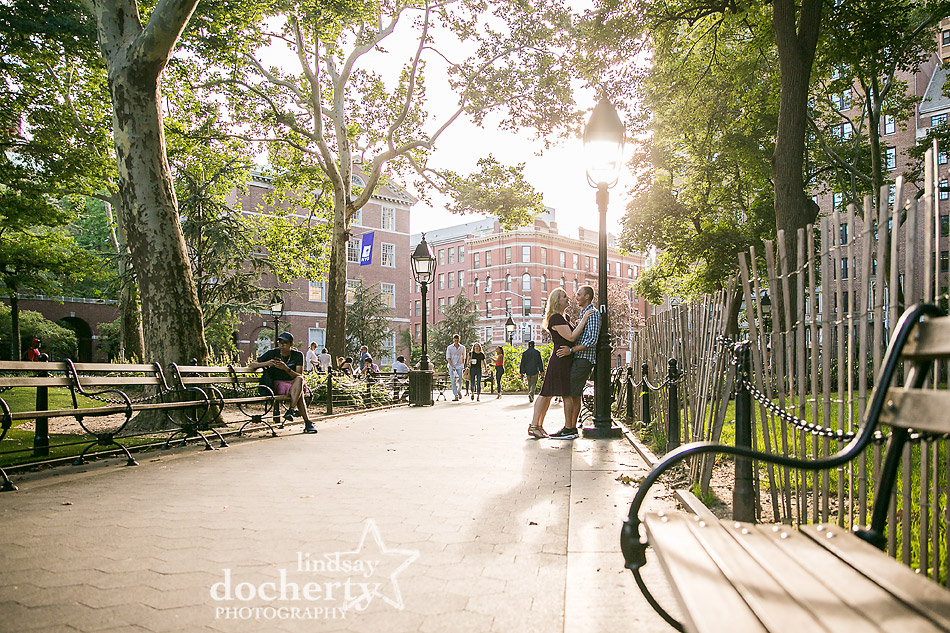 NYC Washington Square Park with long shadows for engagement session