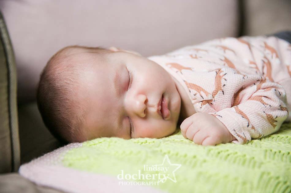 1 month old baby girl sleeping