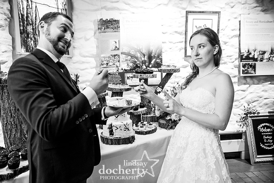 bride and groom about to share cake at Morris Arboretum wedding