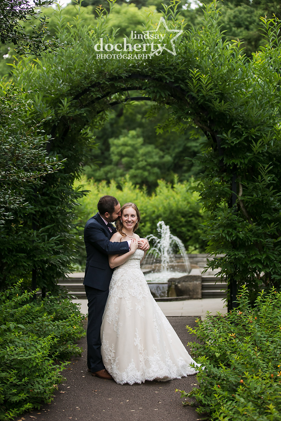bride and groom at fountains at Morris Arboretum wedding