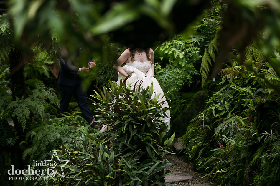 bride and groom walking through green fernery on rainy wedding day at Morris Arboretum