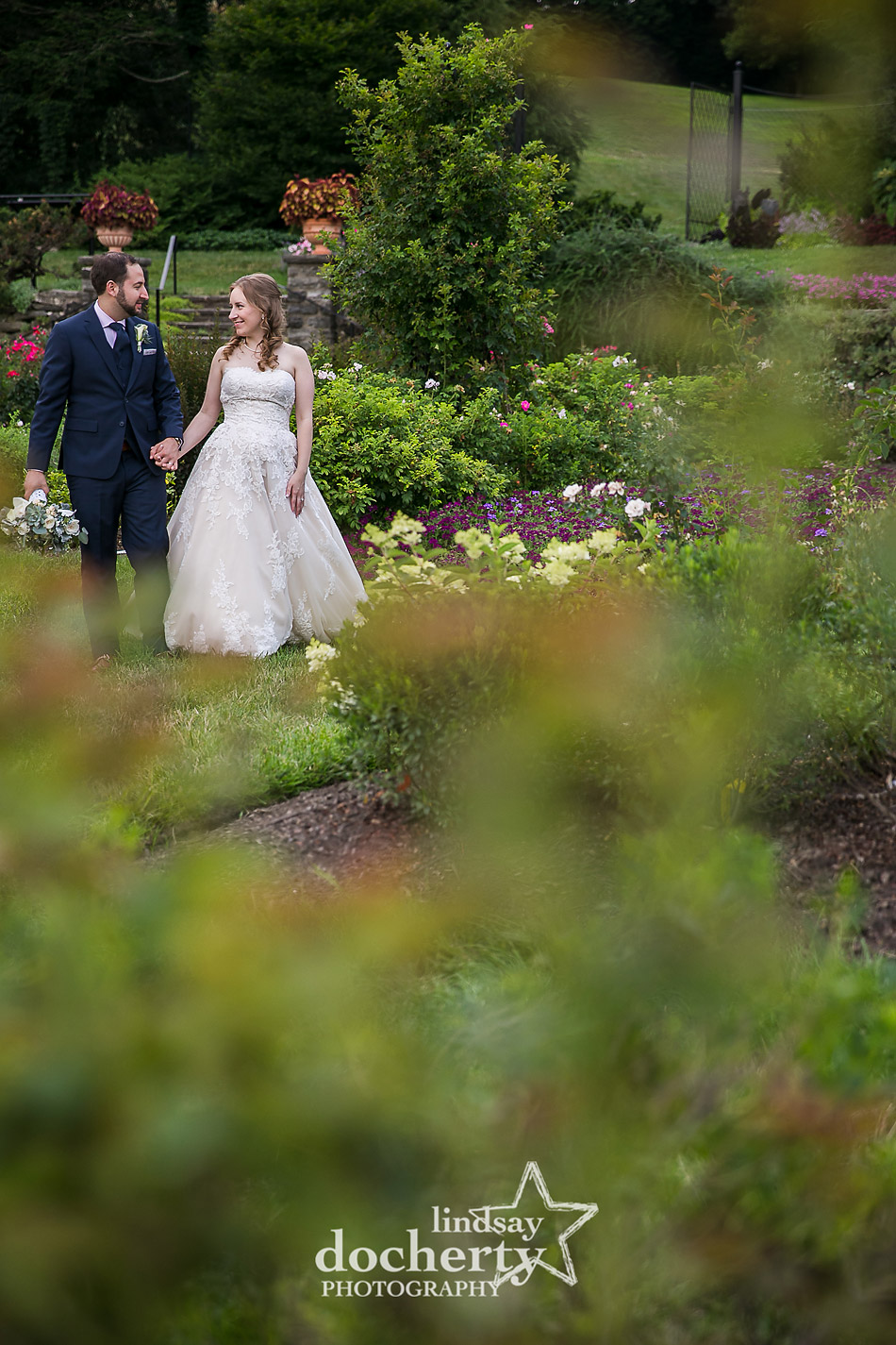 bride and groom walking through rose garden at Morris Arboretum wedding