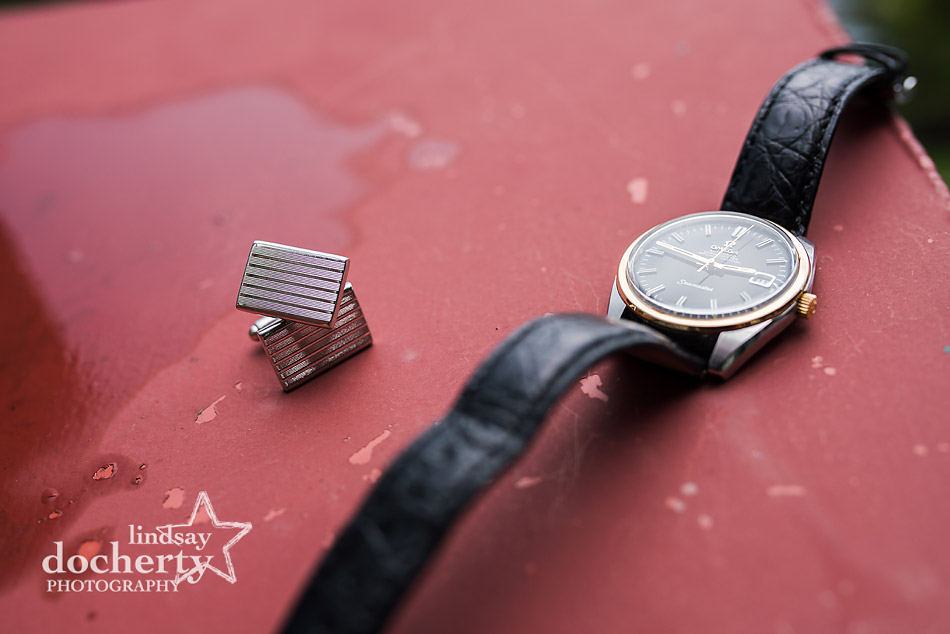 vintage grooms cufflinks and Omega watch