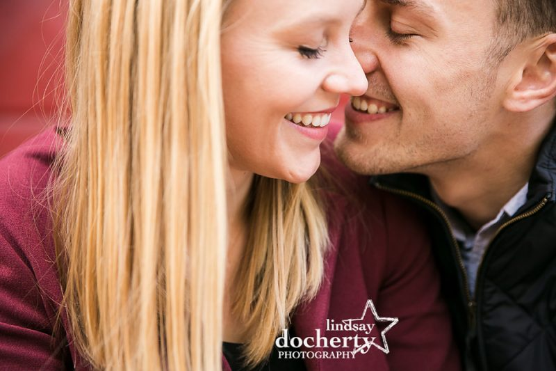 intimate picture of beautiful couple in engagement session in Philadelphia