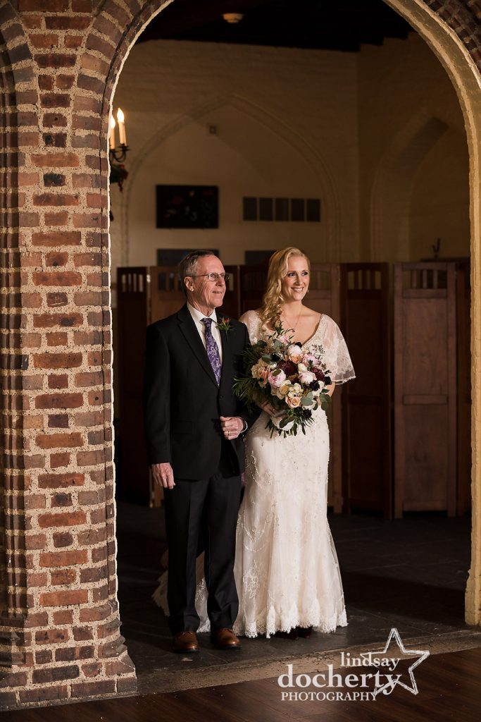 bride and father about to walk into wedding ceremony at Aldie Mansion