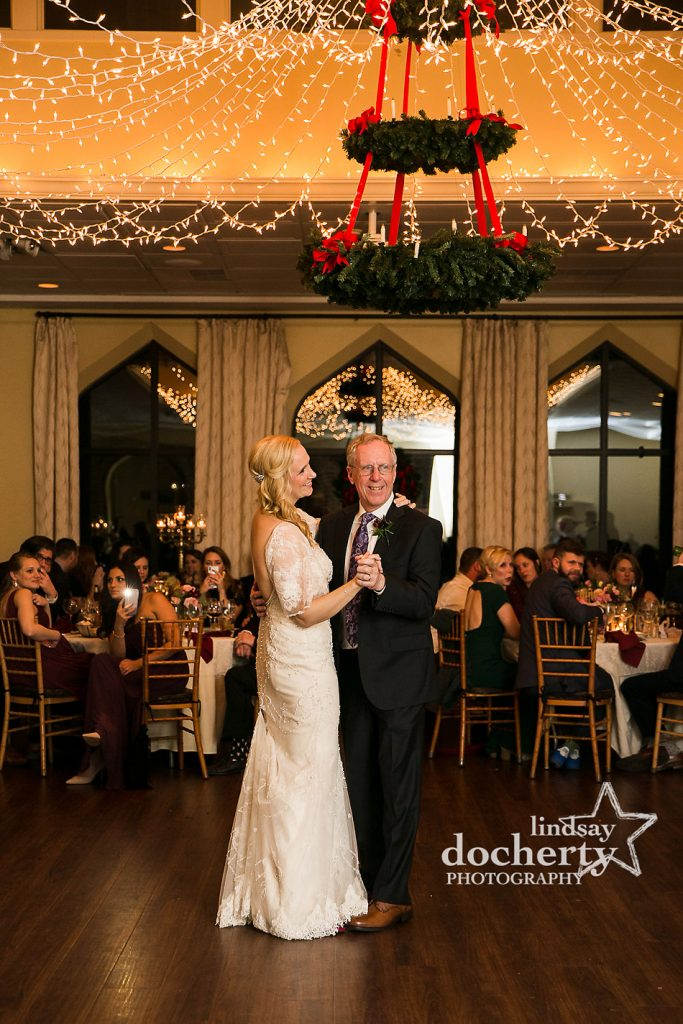 bride and father dance at wedding reception at Aldie Mansion