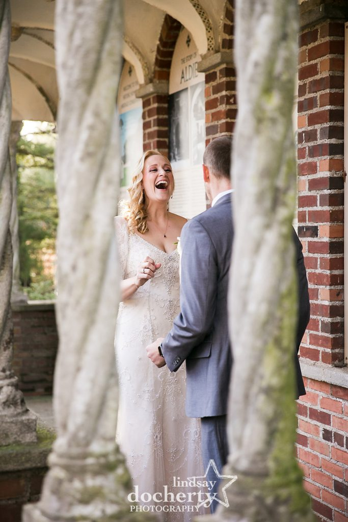 bride and groom first look at Aldie Mansion winter wedding day