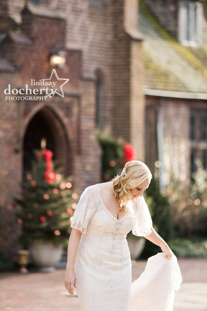 bride in gorgeous winter daylight on wedding day
