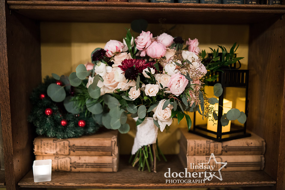 brides bouquet in library at Aldie Mansion