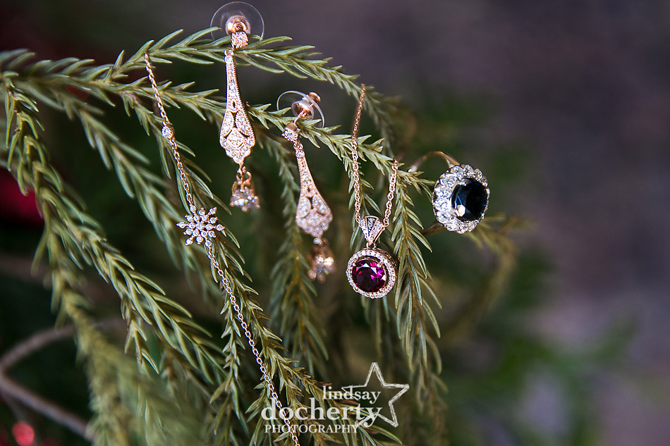 brides jewelry on a winter wedding morning