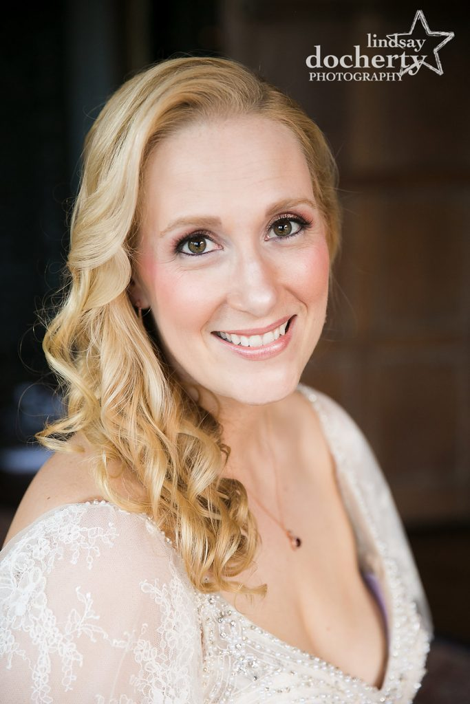gorgeous blonde bride portrait on wedding day